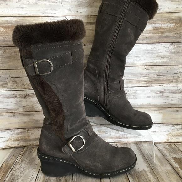 111320408c5 Baretraps Catchy Gray Suede Zip Up Knee High Boots
